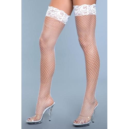 Amber Netzstrümpfe mit Spitze - Weiß