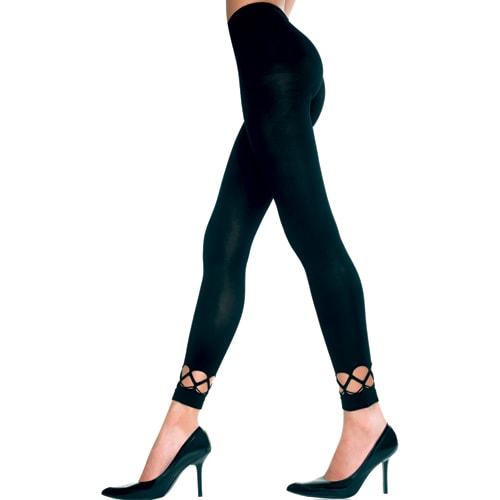 Elastan Leggings mit Häkelbordüre SCHWARZ