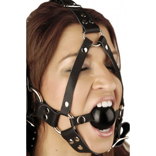Gesichtsharness mit Mundball aus Leder