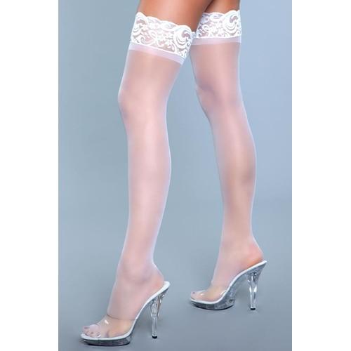Lace Over It halterlose Strümpfe - Weiß