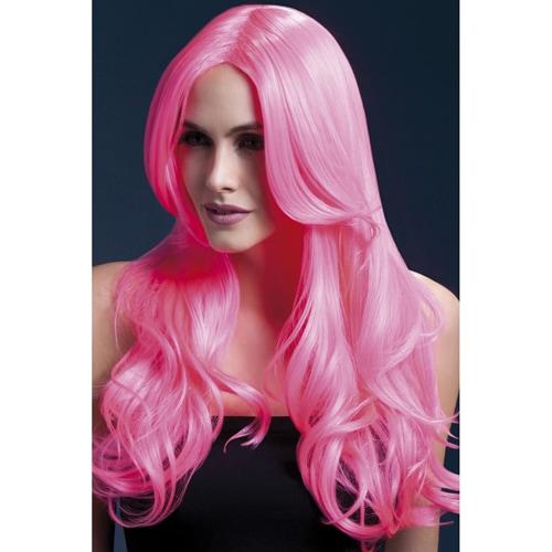 Lange Lockenperücke - Pink