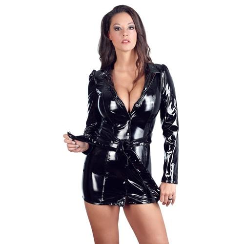 Mantelkleid aus schwarzem Lack