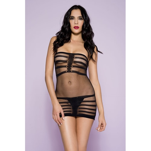 Netz-Minikleid mit Streifen