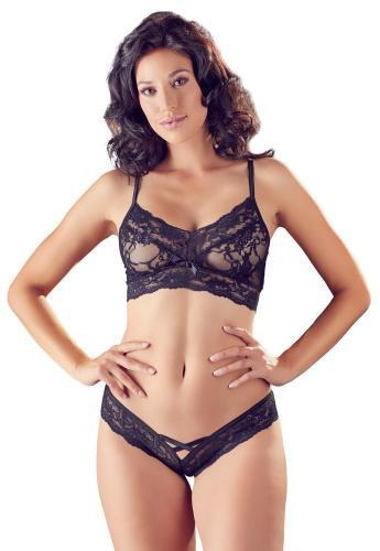 Sexy 2-teiliges Spitzen-BH-Set - Schwarz